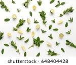 pattern of mint  lemon and lime.... | Shutterstock . vector #648404428