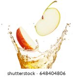 apple slices falling into... | Shutterstock . vector #648404806