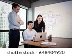 businessman and businesswoman... | Shutterstock . vector #648404920