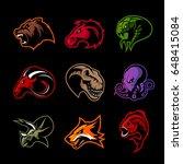bear  horse  snake  ram  fox ... | Shutterstock .eps vector #648415084