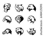 bull  rhino  wolf  eagle  cobra ... | Shutterstock .eps vector #648415090