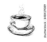 hand drawn sketch coffee cup ... | Shutterstock . vector #648419089