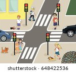 traffic laws. rules of the road ... | Shutterstock .eps vector #648422536
