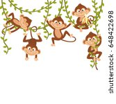 monkey on vine    vector...