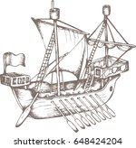antique sailboat. engraved... | Shutterstock .eps vector #648424204