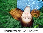 woman is dreaming on grass ... | Shutterstock . vector #648428794