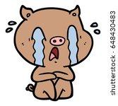 crying pig cartoon | Shutterstock .eps vector #648430483