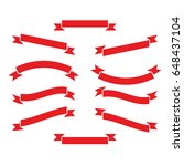 set of red ribbons or banners... | Shutterstock .eps vector #648437104