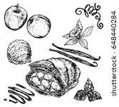 piece apple pie vanilla sauce... | Shutterstock .eps vector #648440284