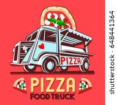 food truck logotype for pizza... | Shutterstock .eps vector #648441364