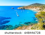 sailing boats on cala d'hort... | Shutterstock . vector #648446728