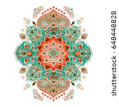 indian floral paisley medallion.... | Shutterstock .eps vector #648448828