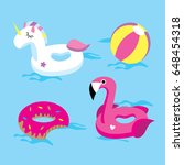 set of bright floats in the... | Shutterstock .eps vector #648454318