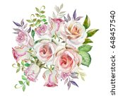 watercolor roses | Shutterstock . vector #648457540
