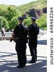 armed policemen officer on duty ... | Shutterstock . vector #648463264
