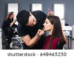 cool male make up artist colors ... | Shutterstock . vector #648465250