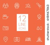 set of 12 picnic outline icons...