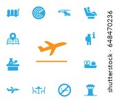 set of 13 aircraft icons set... | Shutterstock .eps vector #648470236
