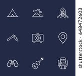 set of 9 camping outline icons...