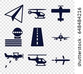 aviation icons set. set of 9... | Shutterstock .eps vector #648484216