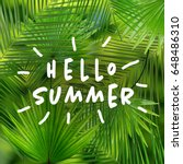 Small photo of Text HELLO SUMMER and tropical leaves on background
