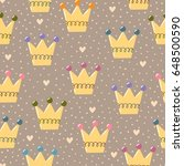 hand drawn crowns seamless... | Shutterstock .eps vector #648500590