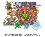 dog's character and amusement... | Shutterstock . vector #648509473