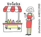 cute female vendor holding... | Shutterstock .eps vector #648511900
