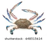 Small photo of Blue crab isolated on white background