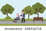 disabled senior women in... | Shutterstock .eps vector #648516718