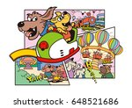 dog's character and amusement... | Shutterstock . vector #648521686
