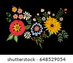 Stock vector embroidery native pattern with fantasy flowers vector embroidered traditional floral bouquet 648529054