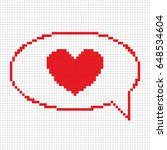 pixel heart bubble speech icon. ... | Shutterstock .eps vector #648534604