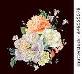 vintage watercolor bouquet with ... | Shutterstock . vector #648535078