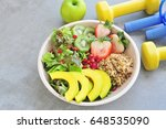 fresh salad  healthy food.... | Shutterstock . vector #648535090