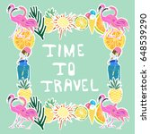 tropical traveling objects set. ... | Shutterstock .eps vector #648539290