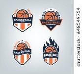 basketball sport logo design... | Shutterstock .eps vector #648549754