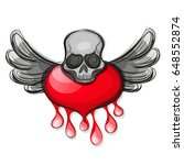 skull shape from red hearts. | Shutterstock .eps vector #648552874