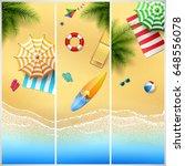 set of three tropical beach | Shutterstock .eps vector #648556078