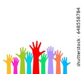 many raised hands isolated on... | Shutterstock .eps vector #648558784