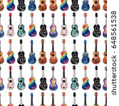 seamless pattern with ukulele.... | Shutterstock . vector #648561538