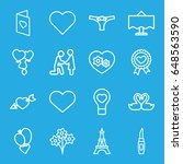romantic icons set. set of 16... | Shutterstock .eps vector #648563590