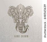 patterned elephant head on... | Shutterstock .eps vector #648565639