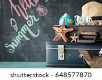 packed vintage suitcase for... | Shutterstock . vector #648577870