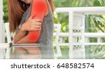 asian business woman acute pain ... | Shutterstock . vector #648582574