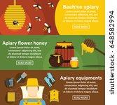 apiary honey banner horizontal... | Shutterstock .eps vector #648582994