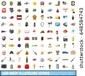100 men leisure icons set in... | Shutterstock .eps vector #648584743