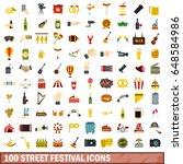 100 street festival icons set... | Shutterstock .eps vector #648584986