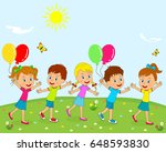 kids  boys and girls are going... | Shutterstock .eps vector #648593830