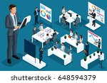 isometric cartoon people  3d... | Shutterstock .eps vector #648594379